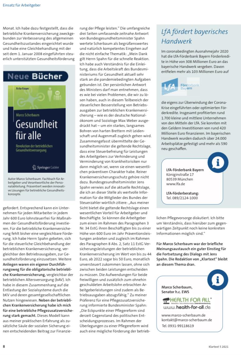 Klartext Senator h.c. Scherbaum Dialog Bundesgesundheitsminister Jens Spahn betriebliche Krankenversicherung bkv HEALTH FOR ALL
