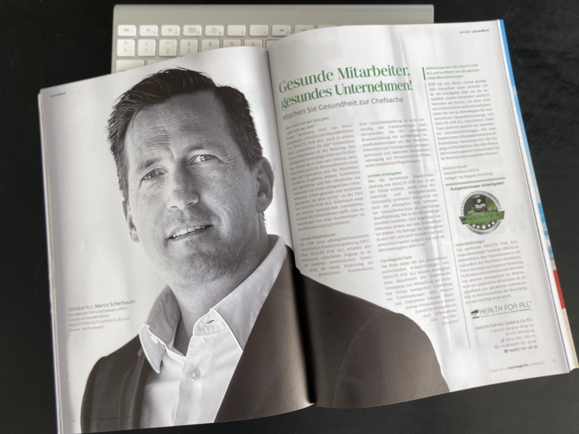 Top Magazin HEALTH FOR ALL® Betriebliche Krankenversicherung bKV, Senator h.c. Marco Scherbaum