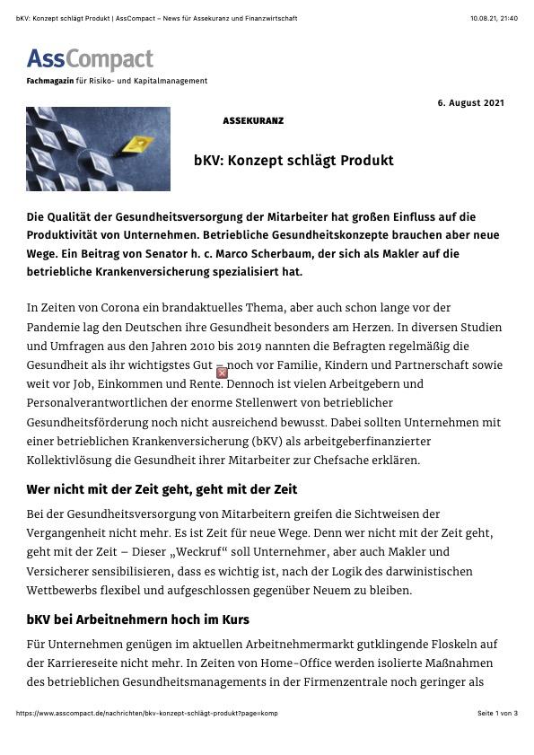 bKV- Konzept schlägt Produkt | AssCompact – News für Assekuranz und Finanzwirtschaft